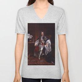 King George I portrait Unisex V-Neck
