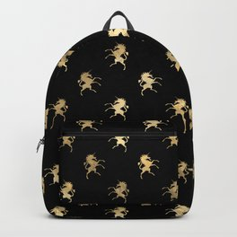 Chic Black and Gold Unicorn Pattern Backpack