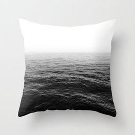 ocean horizon black and white landscape photography Throw Pillow