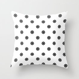 Dharma Wheel Pattern (Black and white) Throw Pillow