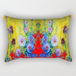 BLUE HOLLYHOCKS YELLOW & RED GARDEN MODERN ART Rectangular Pillow