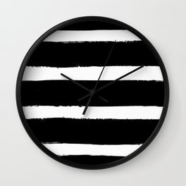 Black & White Paint Stripes by Friztin Wall Clock