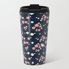 Navy blue cherry blossom finch Metal Travel Mug