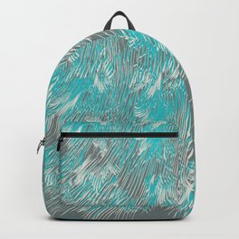 feathered lines in teal Backpack