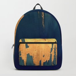 Gold Leaf & Blue Abstract Backpack