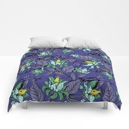 The Sea Garden - deep blue Comforters