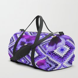 AFGHAN STYLE  PURPLE SPRING PANSIES  PATTERN ART Duffle Bag