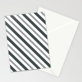 PPG Night Watch Pewter Green  and Dark Green Stripes Angled Lines Stationery Cards