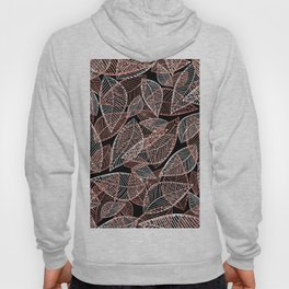 Abstract rose gold silver black glitter leaf pattern Hoody