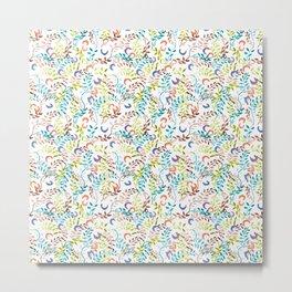 twigs&flowers_white_ramas y flores Metal Print