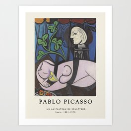 Vintage poster-Pablo Picasso- Nude, Green Leaves and Bust. Art Print