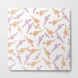 Hand drawn pink coral orange watercolor floral berries Metal Print