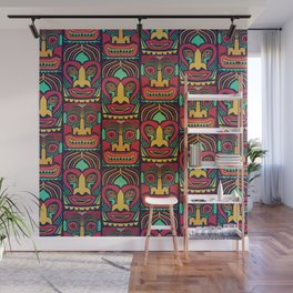 Tiki tribal mask pattern. Wall Mural