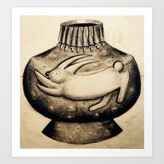 Bunny Vase Art Print
