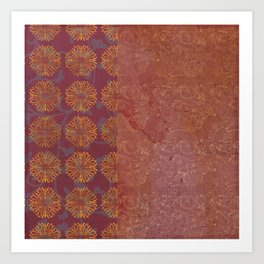 Caravans II:  Asian Print  Plum, gold, pink grey origami textile geometric design Art Print