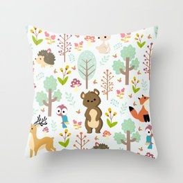 cute forest animals Throw Pillow