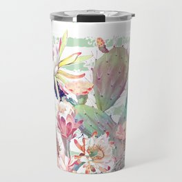 Watercolor cactus, floral and stripes design Travel Mug