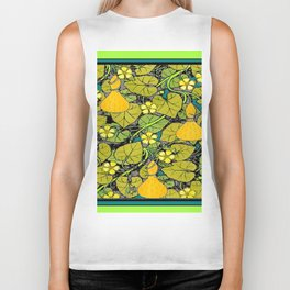Green Art Nouveau Vines Gourds Floral Teal Art Biker Tank
