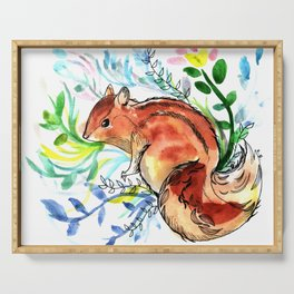 Cute Korea squirrel in sping flowers Serving Tray