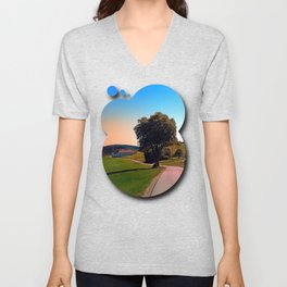 A tree, a road and summertime Unisex V-Neck