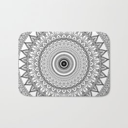 black and white mandala Bath Mat