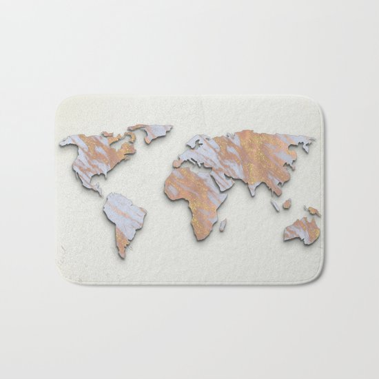 Rose Gold Marble Map - RoseGold World II Bath Mat