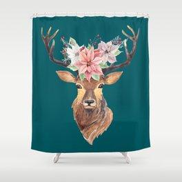 Winter Deer Teal Shower Curtain