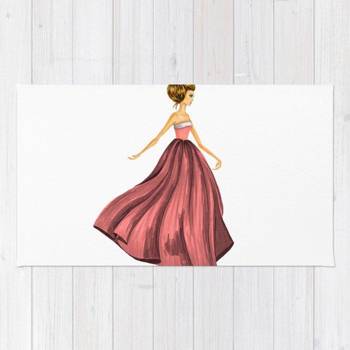 GIRL - Lady In Red - BLONDE - watercolor Rug