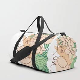 Minimal Line Art Summer Woman with Tropical Flowers Duffle Bag