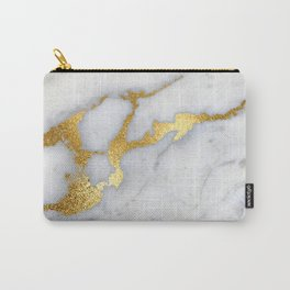 White and Gray Marble and Gold Metal foil Glitter Effect Carry-All Pouch