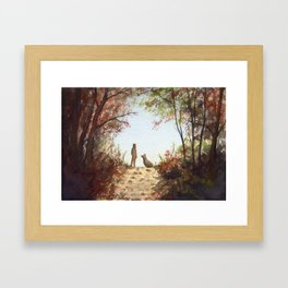 A Walk in the Autumn Woods Framed Art Print