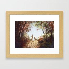 A Walk in the Autumn Woods Framed Art Print