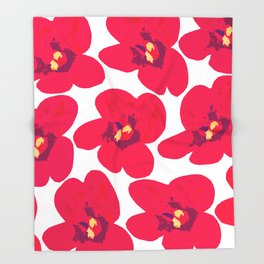 Red Retro Flowers #decor #society6 #buyart Throw Blanket