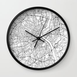Bordeaux Map White Wall Clock