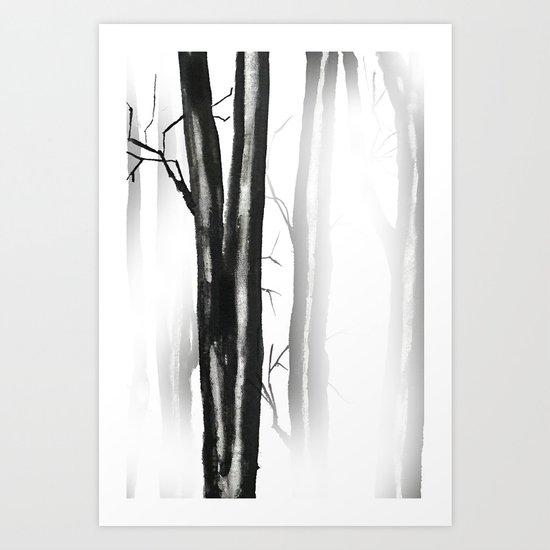 wood, snow and fog Art Print