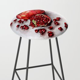 Red pomegranate watercolor art painting Bar Stool