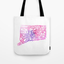Typographic Connecticut - pink watercolor map Tote Bag