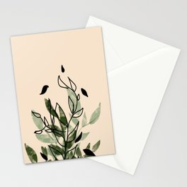 Green and black leaves Stationery Cards