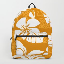 Orange & White Hibiscus Aloha Hawaiian Flower Blooms and Tropical Banana Leaves Pattern Backpack