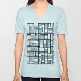 Map Lines Sky Blue Unisex V-Neck