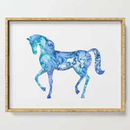 Blue horse in my dreams Serving Tray