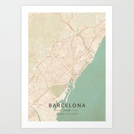 Barcelona, Spain - Vintage Map Kunstdrucke