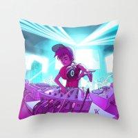 dj Throw Pillows featuring DJ by Pere Devesa