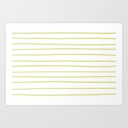 VA Lime Green - Lime Mousse - Bright Cactus Green - Celery Hand Drawn Horizontal Lines on White Art Print