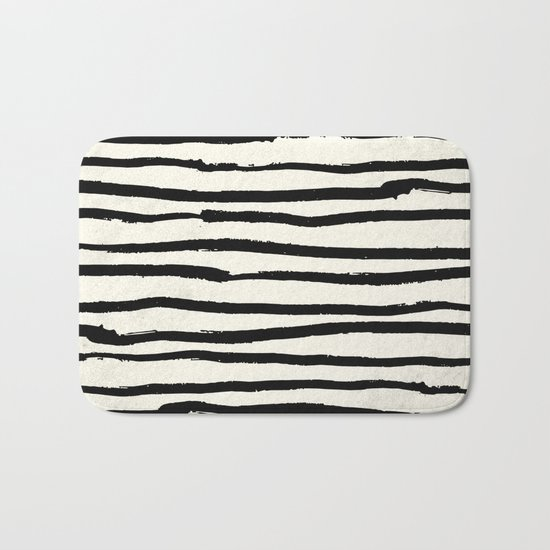 Tribal Stripes Black Earth on Ivory Cream Bath Mat