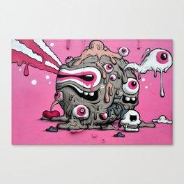 Urban Street Art: Pink Oozing Eye Creature (Buff Monster) Canvas Print