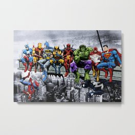 Superhero Lunch Atop A Skyscraper Metal Print