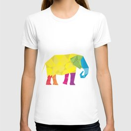 Elephant in polygon style vector T-shirt