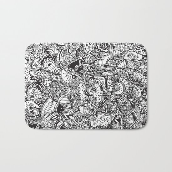 Detailed rectangle, black and white Bath Mat