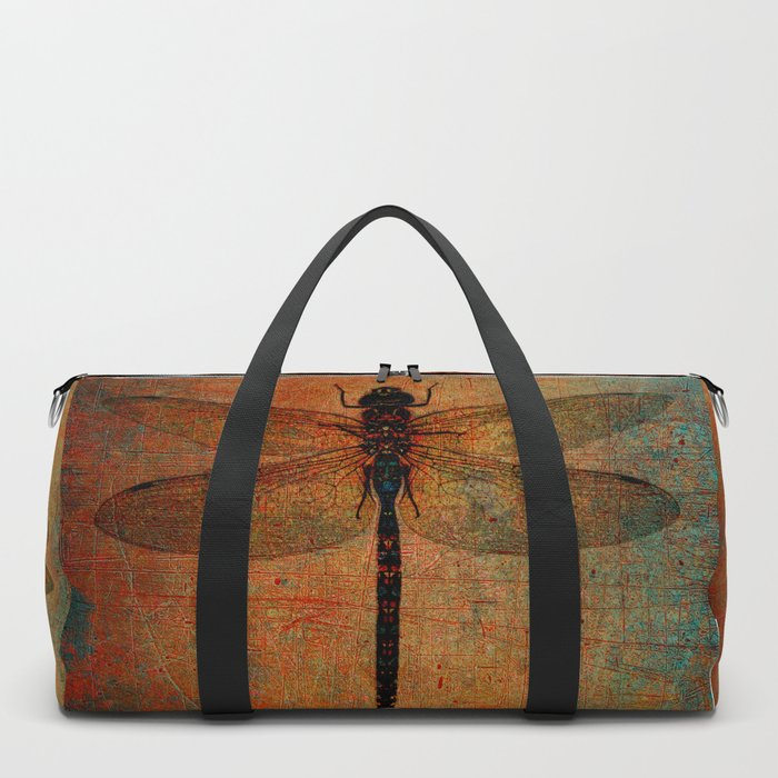 Dragonfly On Orange and Green Background Duffle Bag